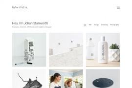 白色极简设计师portfolio响应式网站模板