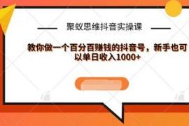 聚蚁思维抖音实操课:教你做一个百分百赚钱的抖音号